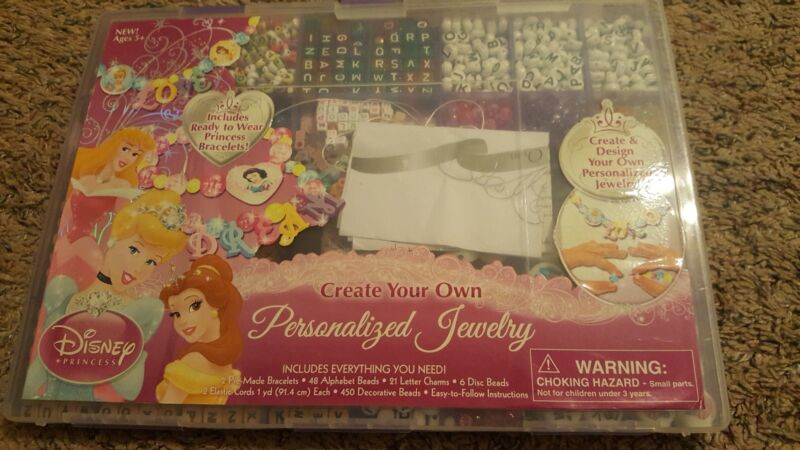 DISNEY PRINCESS Personalized Jewerly Set Create Your Own Bead Craft Kit 4+ Child