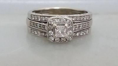 14K White Gold Halo 1 CT Diamond Wedding Set Rings 3 Pieces