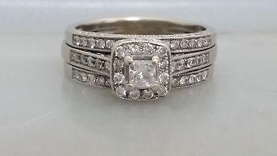 14K White Gold Halo 1 CT Diamond Wedding Set Rings 3 Pieces