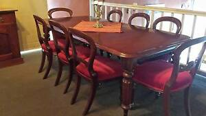 Victorian dining table and 8 balloon back chairs Newtown Geelong City Preview