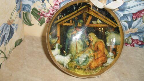 "Sylvestri ""O Holy Night"" Nativity Glass Ornament~  5"" Diameter ~~FREE SHIPPING~~"