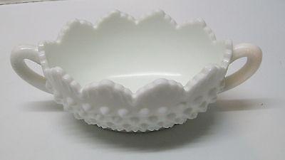 Bowl Hobnail Handled Scalloped Edges Fenton White Milk Glass Vintage