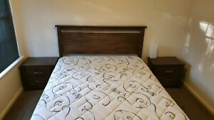 Queen bed, mattress, two side tables URGENT