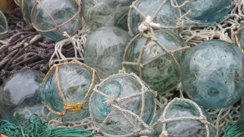 "Japanese Glass Fishing FLOATS 2"" Mixed LOT-8 4 Netted 4 No Net Tiki Tropical"