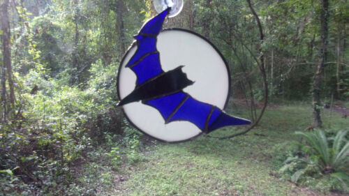 Stained glass Bat  and Moon Sun catcher hand made New