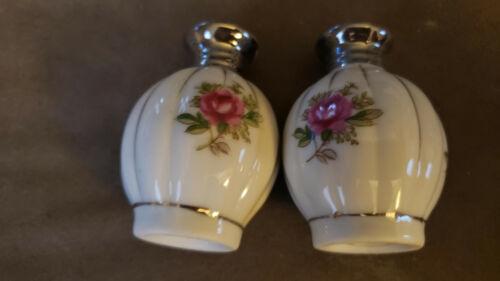 "Vintage Porcelain Hand Painted Salt & Pepper Shakers. Flower and crome. 2.6"""