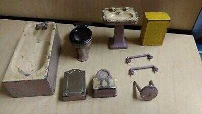 Vintage Tootsie Toys Dollhouse Bathroom Lot-Tub, Sink, Toilet, Scales, More! (Toilet Toy)