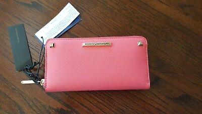 Sr Leather Zipper - REBECCA MINKOFF WATERMELON LEATHER AVA ZIP WALLET  # SR24ISSW01 NWT