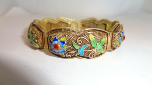 Vintage Chinese Export Vermeil Silver & Enamel Filigree Panel Bracelet