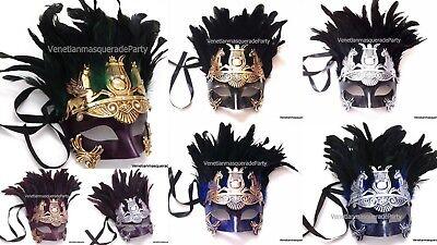 Feather Roman Gladiator Warrior Soldier Mask Venetian Halloween Costume Disguise ()