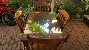 Glass top solid timber dining table and chairs for sale Plympton Park Marion Area Preview