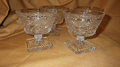Imperial Glass Cape Cod Sherbets Dessert dishes Clear glass 1950 4 6 oz