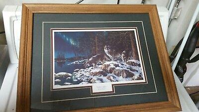 "Jim Hansel Night Lights Wolf Encore  Print 18/' x 10.5/"""