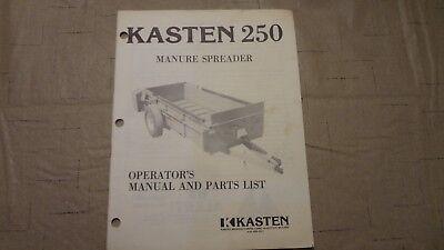Kasten 250 Manure Spreader Parts And Operators Manual