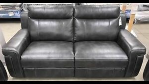 New 3piece power 2 USB charcoal  couch leather sofa, love, chair