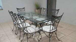 Wrought Iron & Marble Matching Dining, Coffee & Side Table