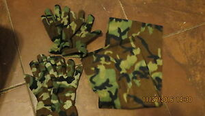 Camouflage fleece glove/scarf set