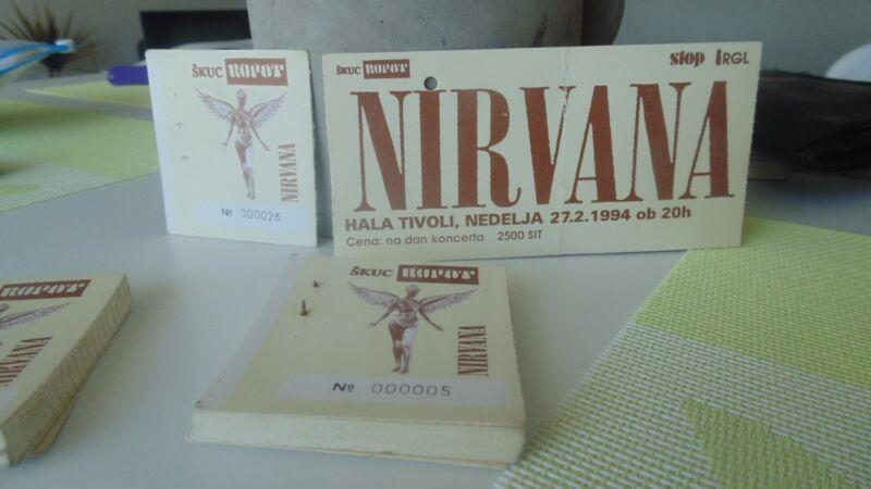 Nirvana ticket stubs Ljubljana concert