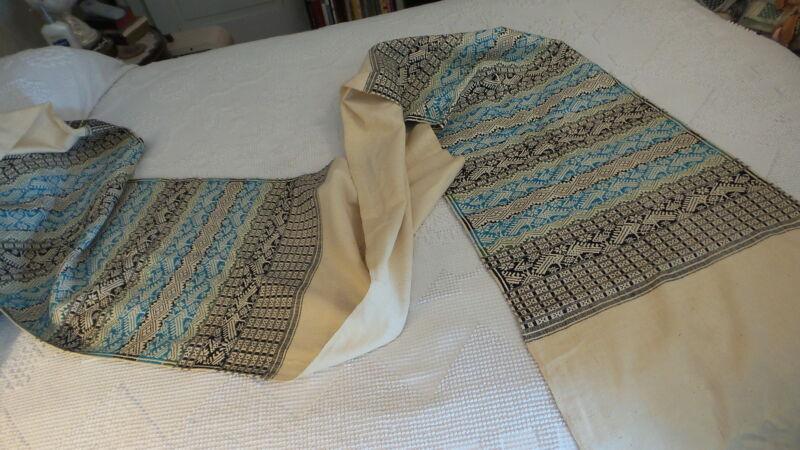 "Antique Woven Cotton RUNNER, 17"" Wide, 104"" Long, Black,Turquoise,Green,Bird"