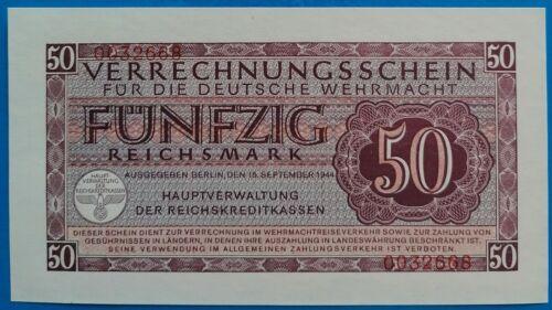 Germany ; 50 Reichsmark 1944, German military money, Wehrmacht, P-M41,WWII, UNC-
