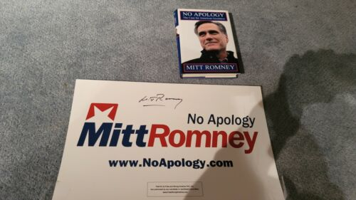 Mitt Romney book and campaign banner signed No Apology