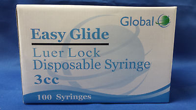 Easy Glide 3ml Luer Lock Syringes - No Needle - Pack Of 100 -3cc Sterile Syringe