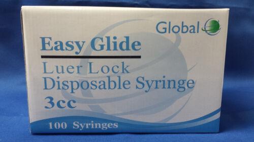 Easy Glide 3ml Luer Lock Syringes - No Needle - Pack of 100 -3cc Sterile Syringe