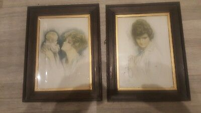 Two Edwardian Period Harrison Fisher Framed Prints - Oak Framed