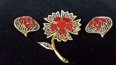 Golden Brooch Clip On Earrings Open Work Reticulated Red Enamel Flower Vintage