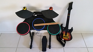 Wii Guitar Drum kit Microphone & Guitar Hero Disk Belmont North Lake Macquarie Area Preview