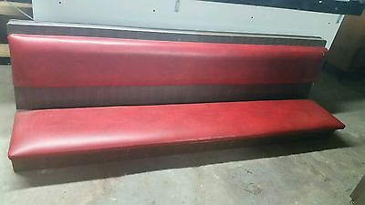 Restaurant Upolstered Wall Guest Bench. Red. Long. Used.