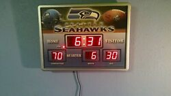 Seattle Seahawks wall clock with date temperature and time