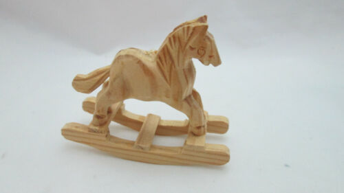 Dollhouse Miniature Hand Carved Unfinished Wood Rocking Horse