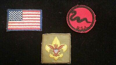 LOT EARLY BOY SCOUT PATCHES - AMERICAN FLAG - PATROL SNAKE - FLEUR-DE-LIS EAGLE for sale  Cuba