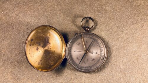 Antique Brass Pocket Compass Marked Made in France