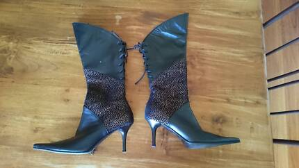 Italian Lace-Up Boots: Leopard Print & Leather Abbotsbury Fairfield Area Preview