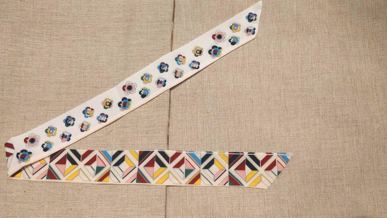 Floral Pattern Silk Twilly Scarf Long Ribbon Bowtie Handbag