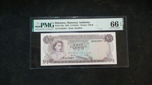 1968 BAHAMAS MONETARY AUTHORITY PMG GEM 66 EPQ Half Dollar Note .50 Bill!