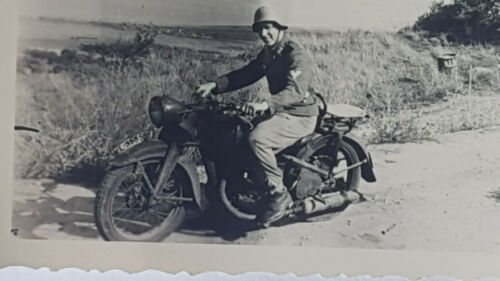 German original photo WWII NCO on a motorcycle