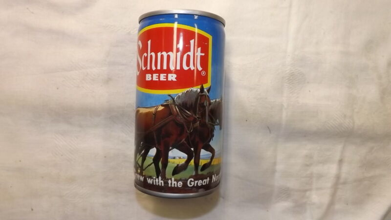 Vintage Schmidt  Plow Team Beer Can Steel  q