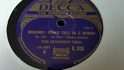 BRAHMS PIANO TRIO IN C MINOR THE BUDAPEST TRIO DECCA K828-830