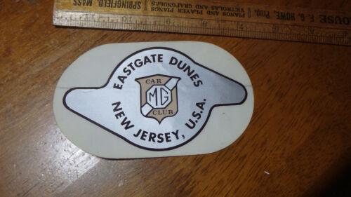 EAST TAILGATE DUNES  NEW JERSEY M G CAR CLUB STICKER 1960