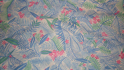 Knit fabric blue leaves green pink unique tropical foliage sewing material (Blue Green Foliage)
