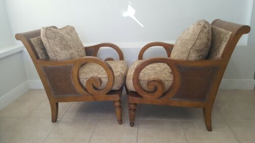 Solid wood and double cane arm chairs pair
