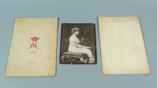 ANTIQUE WW1 QUEEN MARY PHOTOGRAPH + BOOKLET
