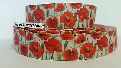 Grosgrain Ribbon, Beautiful Poppy Flowers with Greenery, Veterans Day Flower, 1