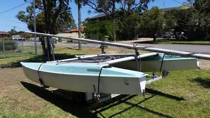 Catamaran with unregistered trailer
