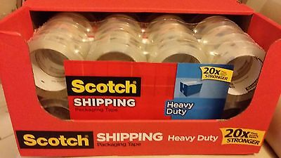 Scotch 3M Clear Heavy Duty Shipping Packing Tape 8 Rolls Total 436 YD (400 m)