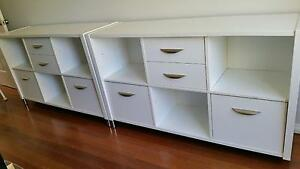 White solid timber storage units Glen Alpine Campbelltown Area Preview