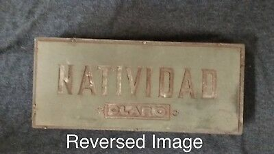 Antique Rare Natividad Claro Cigar Box Top Logo Printer Print Block 6.25x2.6